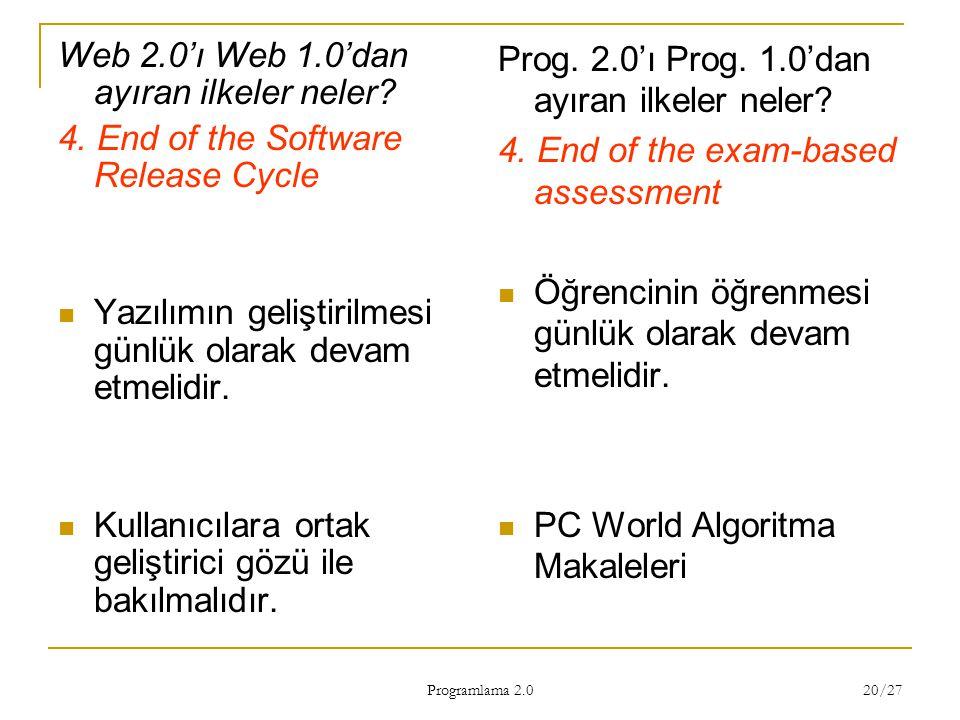 Web 2.0'ı Web 1.0'dan ayıran ilkeler neler