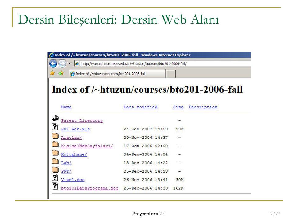 Dersin Bileşenleri: Dersin Web Alanı