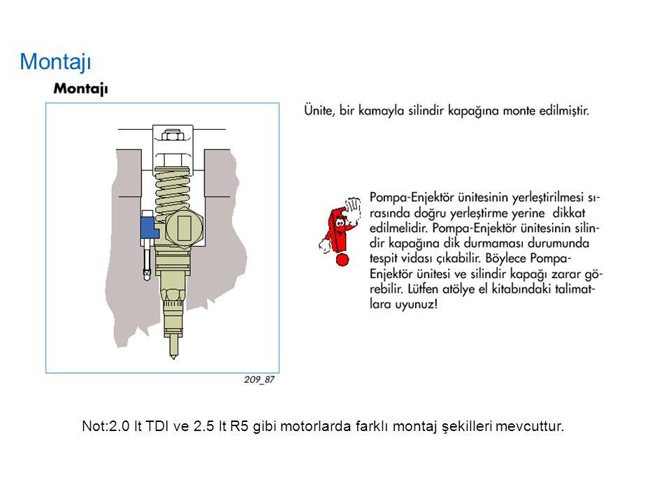 Montajı Not:2.0 lt TDI ve 2.5 lt R5 gibi motorlarda farklı montaj şekilleri mevcuttur.