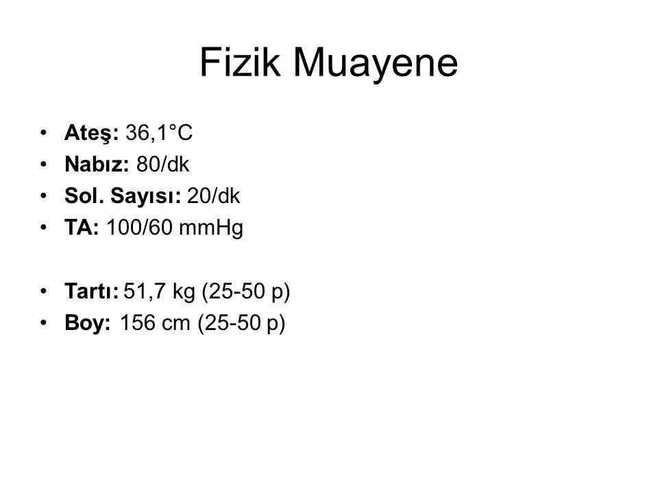 Fizik Muayene Ateş: 36,1°C Nabız: 80/dk Sol. Sayısı: 20/dk