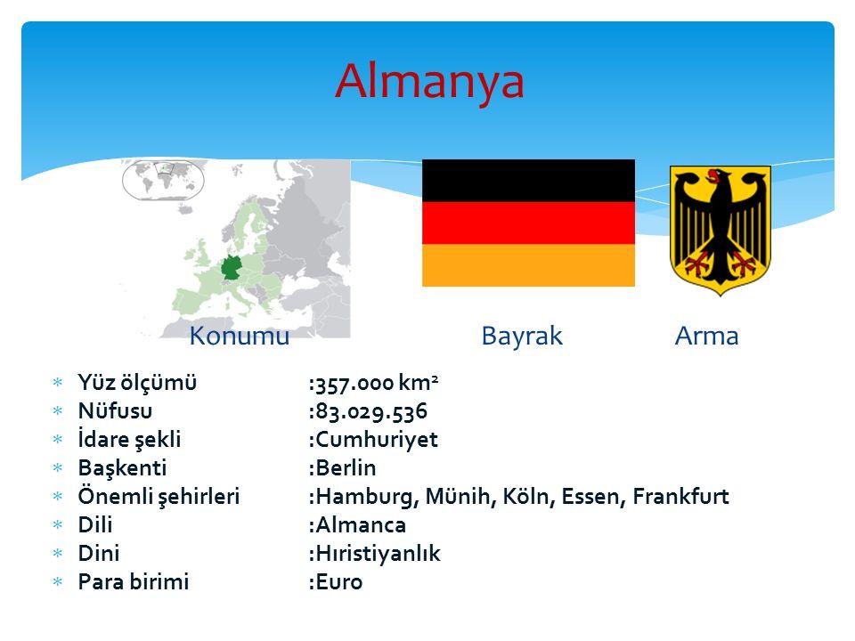 Almanya Konumu Bayrak Arma Yüz ölçümü :357.000 km2 Nüfusu :83.029.536