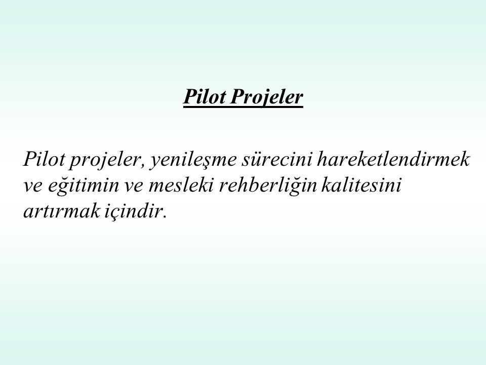 Pilot Projeler Pilot projeler, yenileşme sürecini hareketlendirmek ve eğitimin ve mesleki rehberliğin kalitesini artırmak içindir.