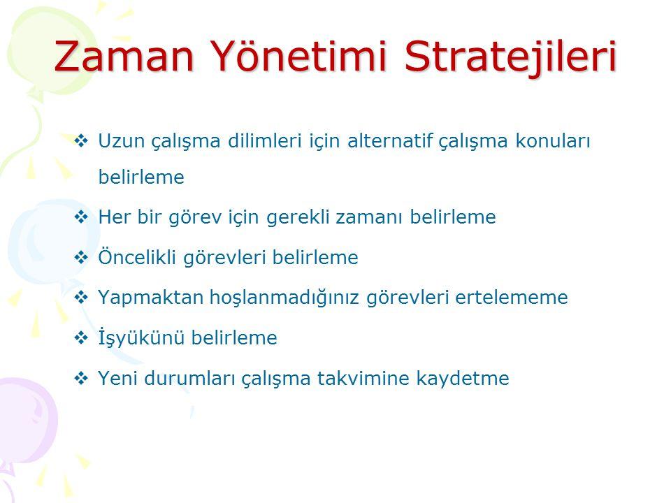 Zaman Yönetimi Stratejileri