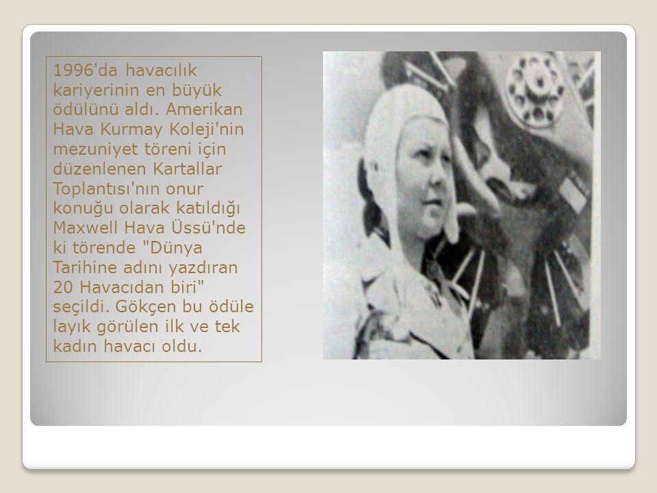 1996 da havacılık kariyerinin en büyük ödülünü aldı