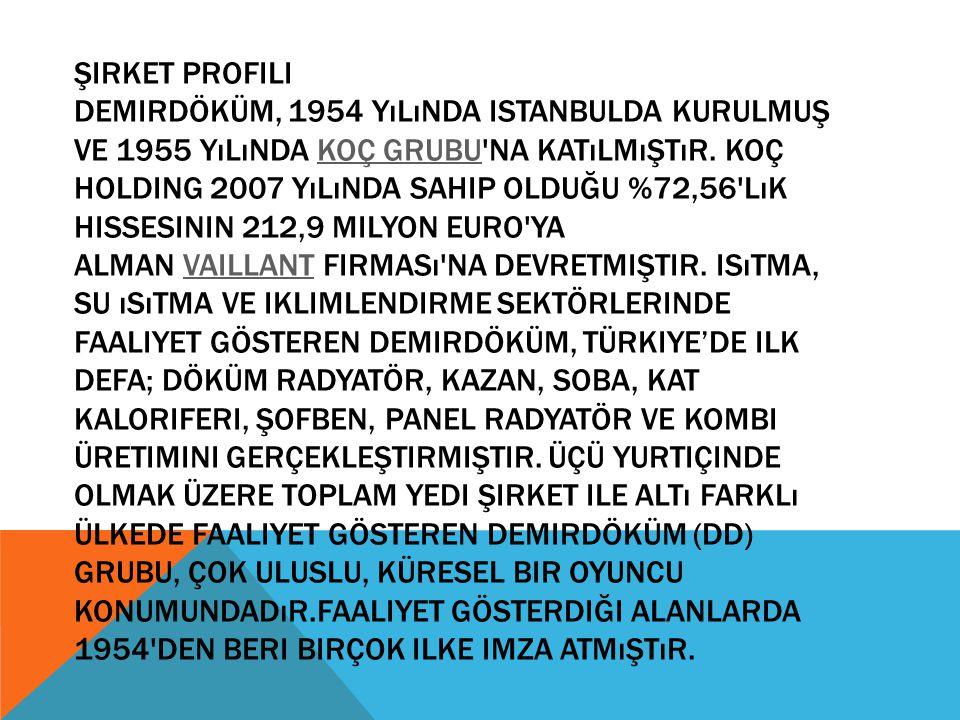Şirket Profili Demirdöküm, 1954 yılında istanbulda kurulmuş ve 1955 yılında Koç Grubu na katılmıştır.