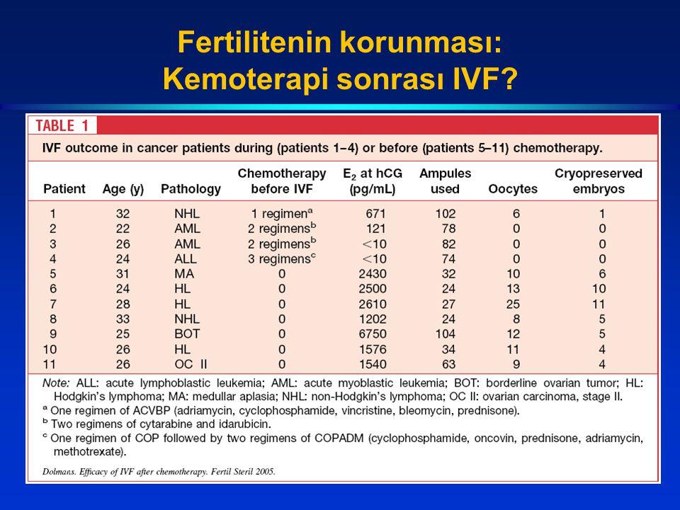 Fertilitenin korunması: Kemoterapi sonrası IVF