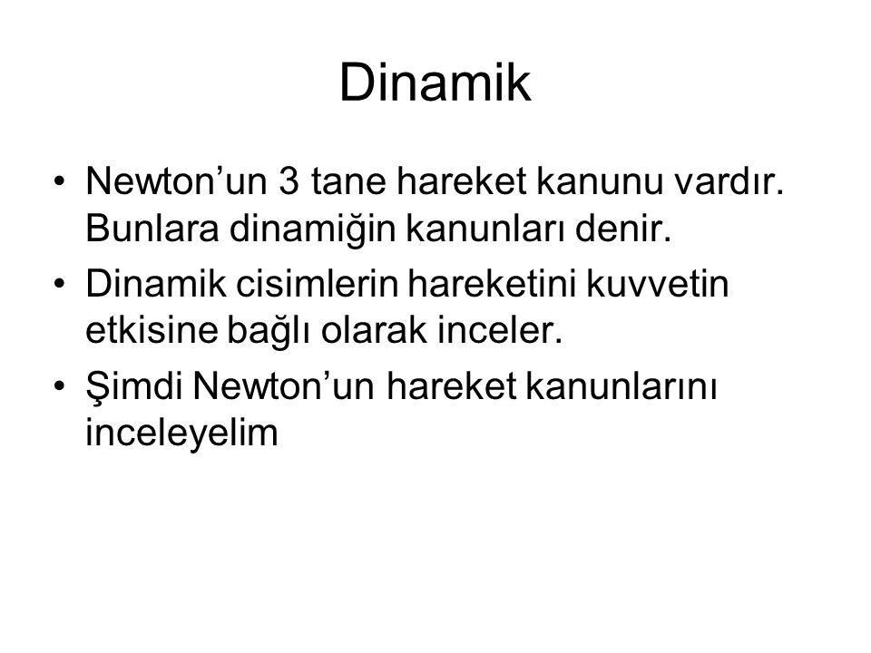 Dinamik Newton'un 3 tane hareket kanunu vardır. Bunlara dinamiğin kanunları denir.