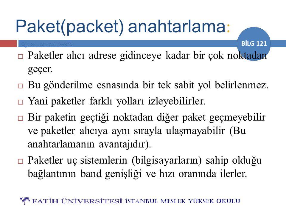 Paket(packet) anahtarlama: