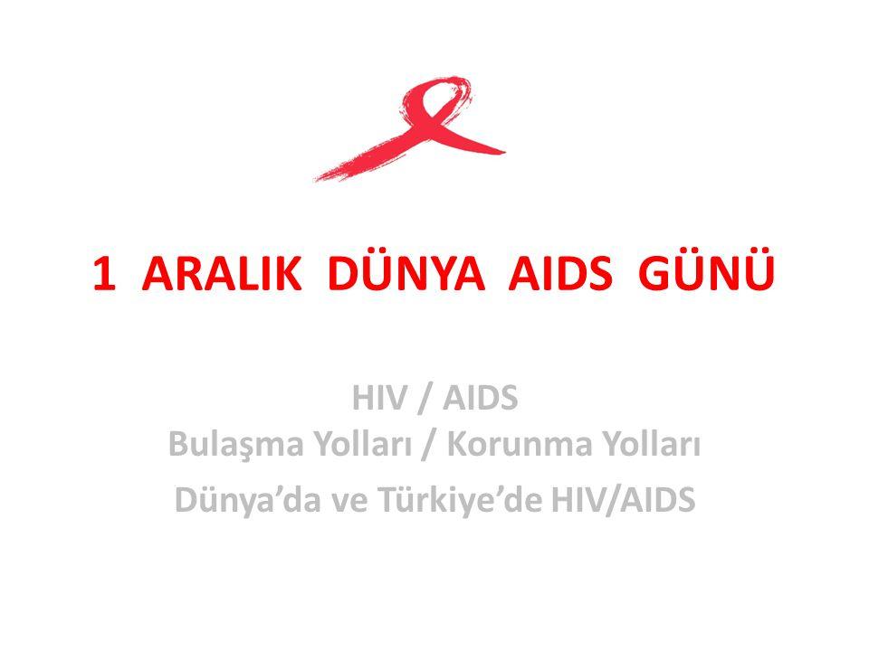 1 ARALIK DÜNYA AIDS GÜNÜ HIV / AIDS Bulaşma Yolları / Korunma Yolları