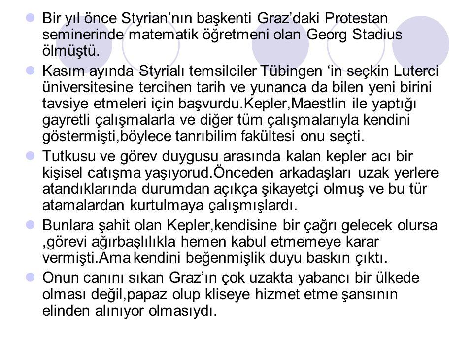 Bir yıl önce Styrian'nın başkenti Graz'daki Protestan seminerinde matematik öğretmeni olan Georg Stadius ölmüştü.