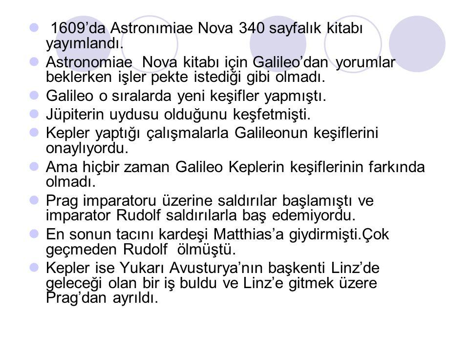 1609'da Astronımiae Nova 340 sayfalık kitabı yayımlandı.