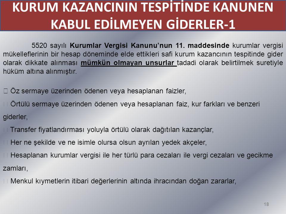 KURUM KAZANCININ TESPİTİNDE KANUNEN KABUL EDİLMEYEN GİDERLER-1