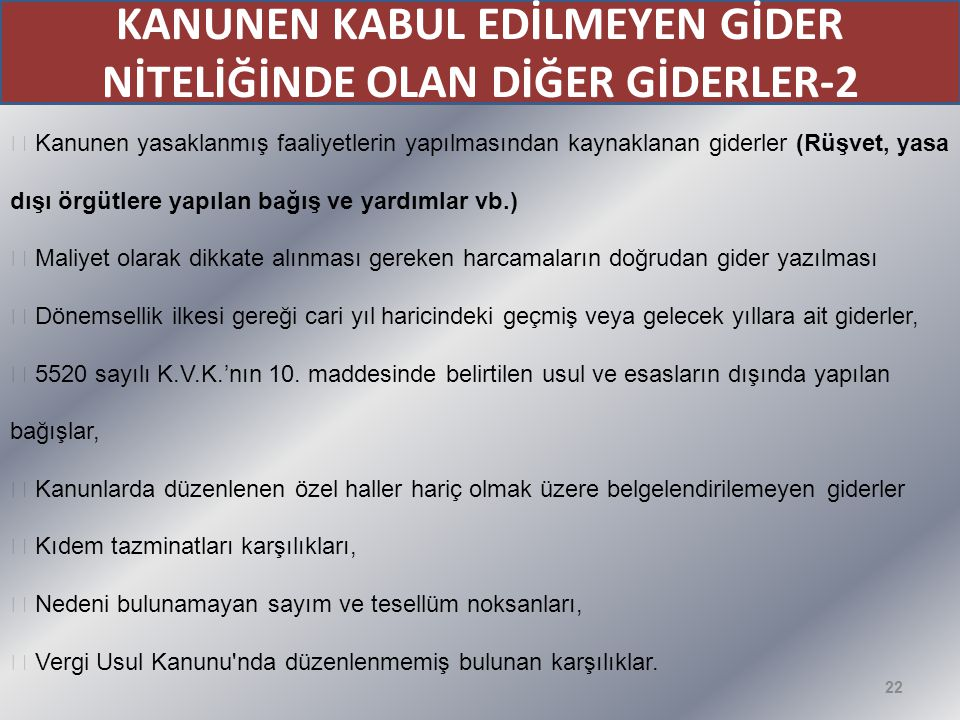 KANUNEN KABUL EDİLMEYEN GİDER NİTELİĞİNDE OLAN DİĞER GİDERLER-2