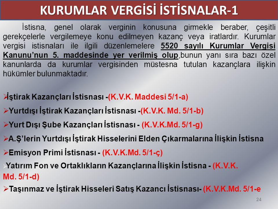 KURUMLAR VERGİSİ İSTİSNALAR-1