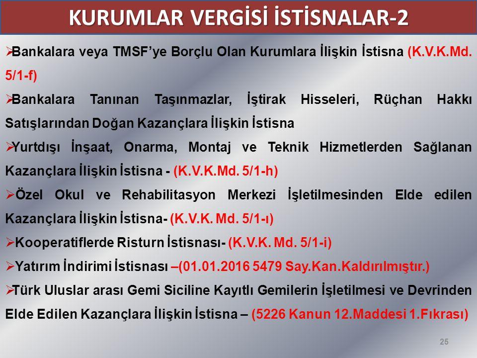 KURUMLAR VERGİSİ İSTİSNALAR-2