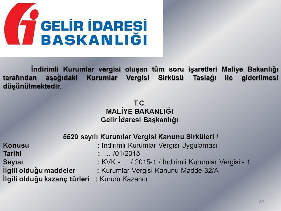 İndirimli Kurumlar vergisi oluşan tüm soru işaretleri Maliye Bakanlığı tarafından aşağıdaki Kurumlar Vergisi Sirküsü Taslağı ile giderilmesi düşünülmektedir.