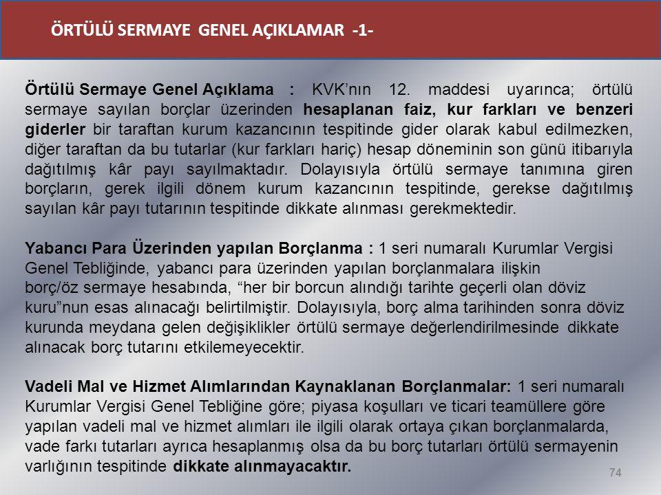 ÖRTÜLÜ SERMAYE GENEL AÇIKLAMAR -1-