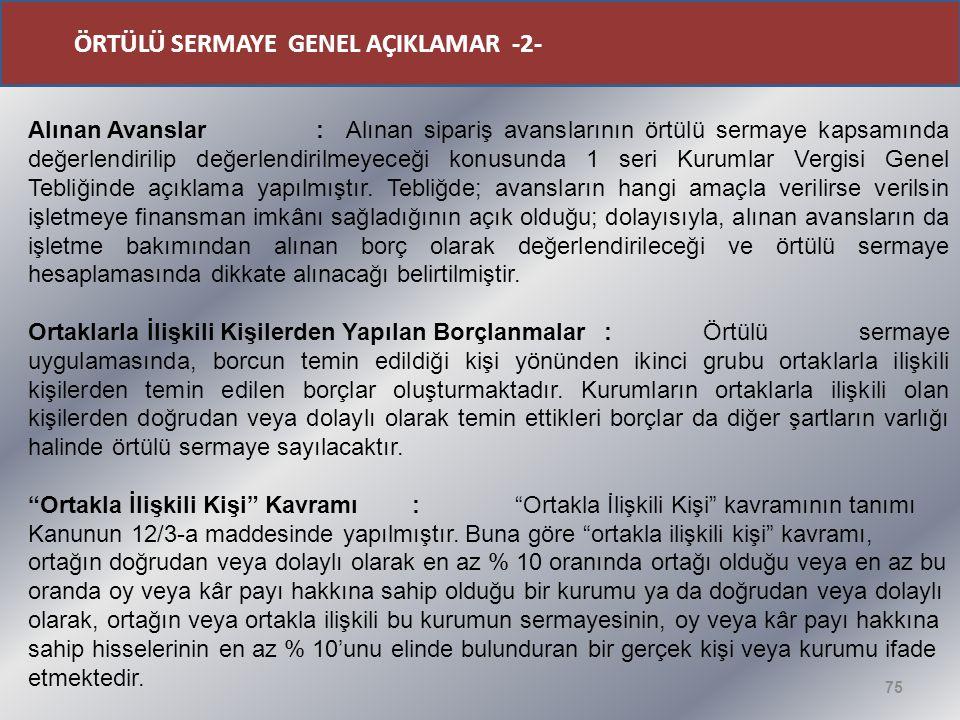 ÖRTÜLÜ SERMAYE GENEL AÇIKLAMAR -2-