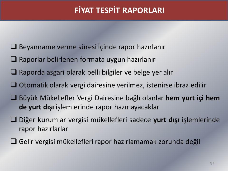 FİYAT TESPİT RAPORLARI