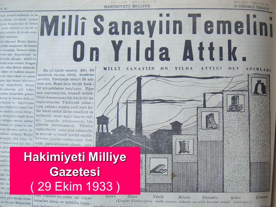 Hakimiyeti Milliye Gazetesi ( 29 Ekim 1933 )