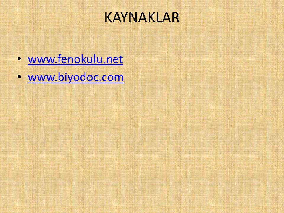 KAYNAKLAR www.fenokulu.net www.biyodoc.com