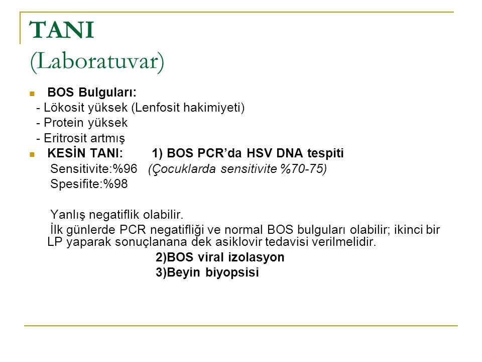 TANI (Laboratuvar) BOS Bulguları:
