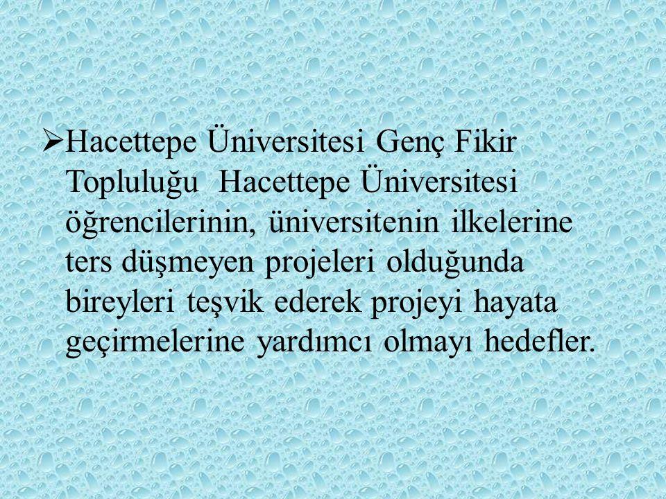 Hacettepe Üniversitesi Genç Fikir Topluluğu Hacettepe Üniversitesi öğrencilerinin, üniversitenin ilkelerine ters düşmeyen projeleri olduğunda bireyleri teşvik ederek projeyi hayata geçirmelerine yardımcı olmayı hedefler.