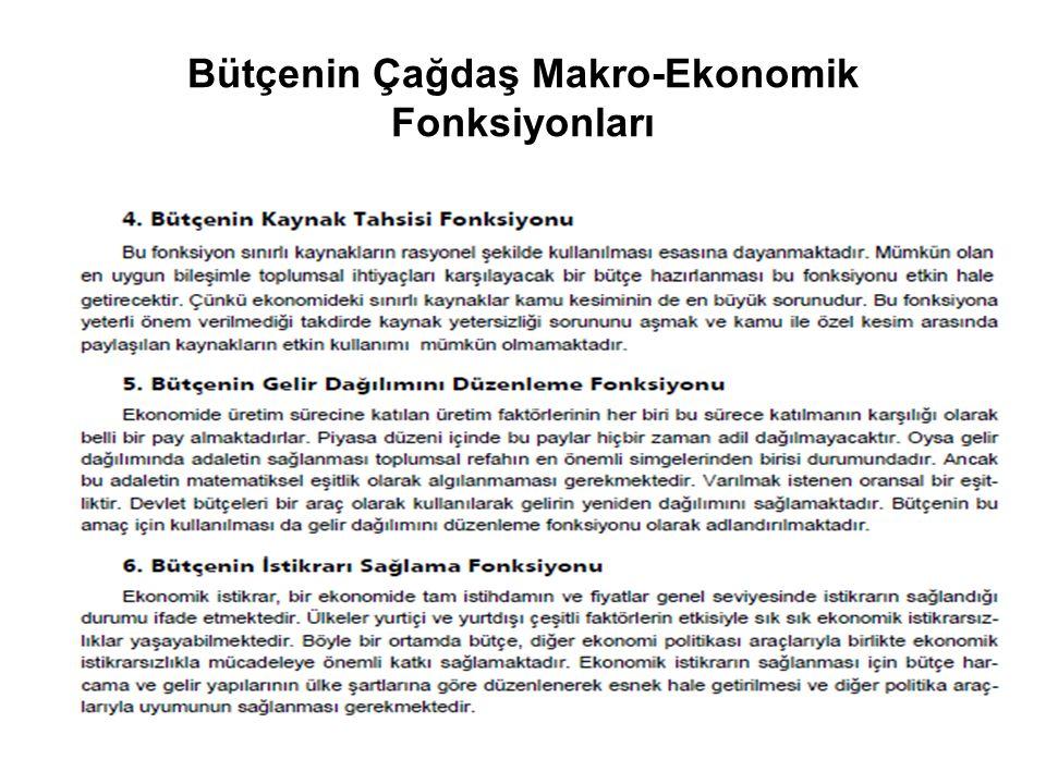 Bütçenin Çağdaş Makro-Ekonomik Fonksiyonları