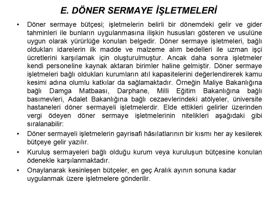 E. DÖNER SERMAYE İŞLETMELERİ