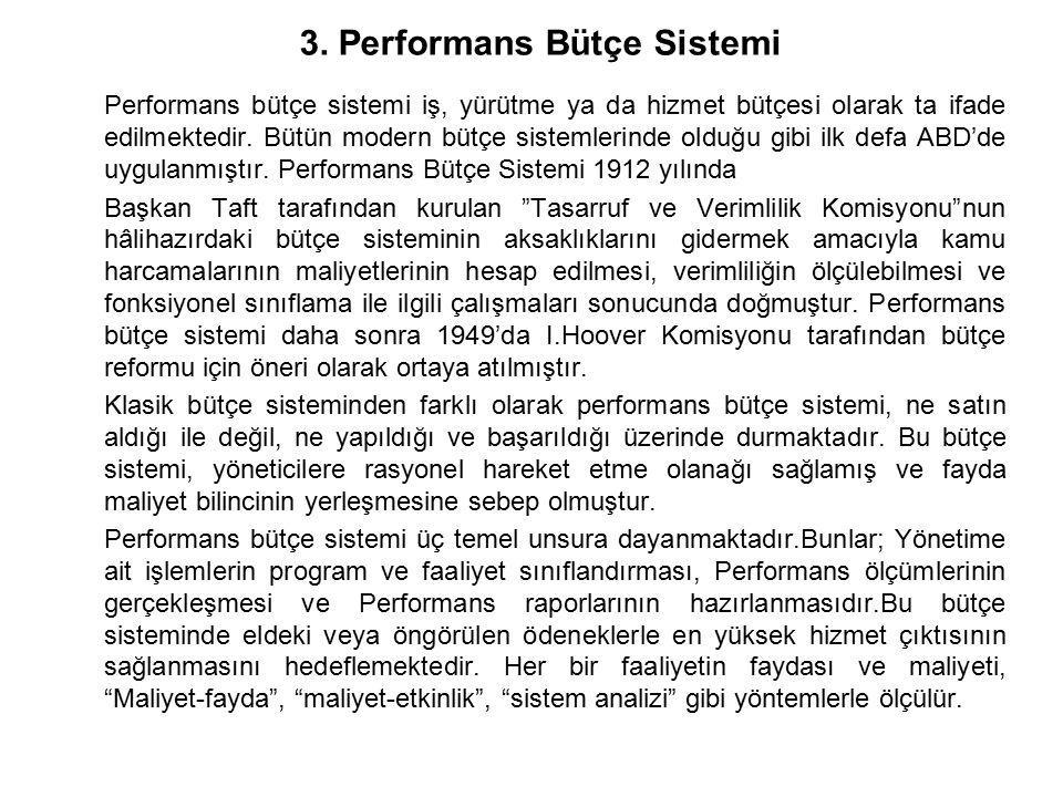 3. Performans Bütçe Sistemi