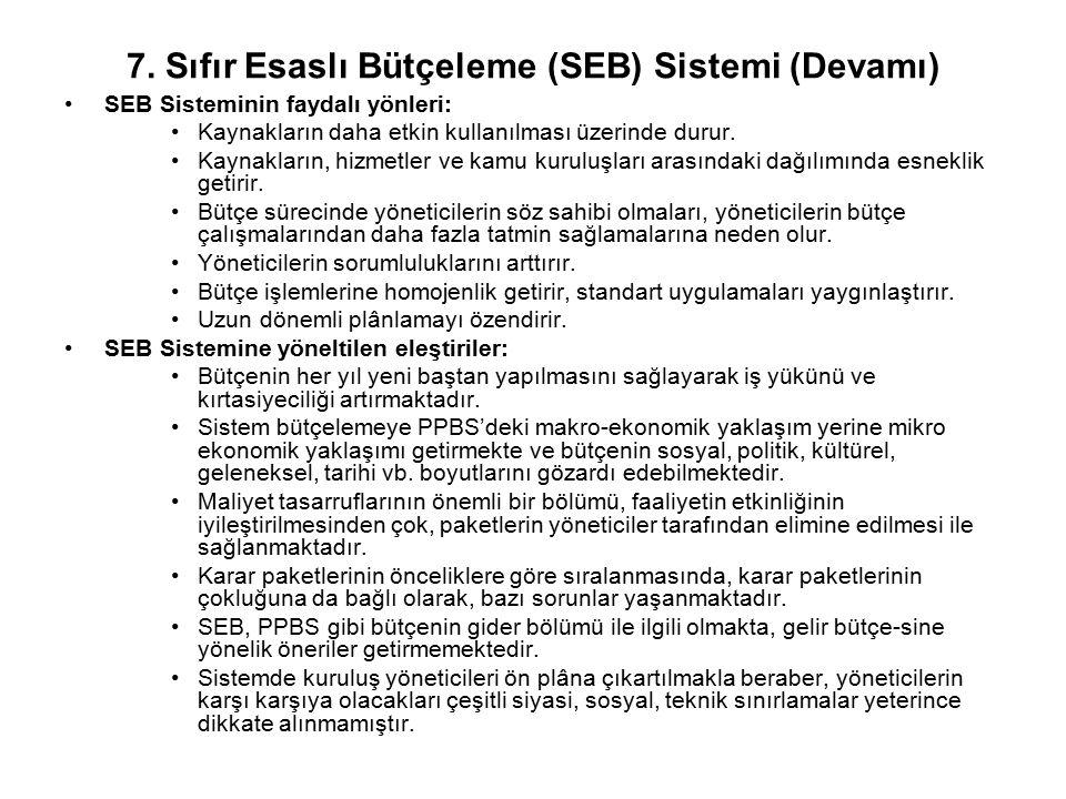 7. Sıfır Esaslı Bütçeleme (SEB) Sistemi (Devamı)