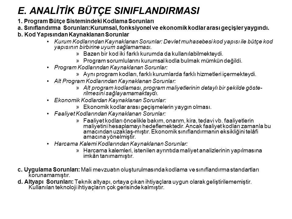 E. ANALİTİK BÜTÇE SINIFLANDIRMASI