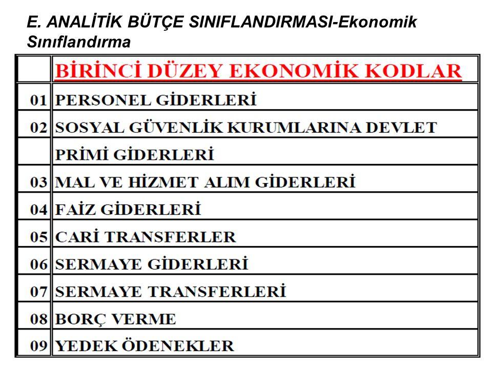 E. ANALİTİK BÜTÇE SINIFLANDIRMASI-Ekonomik Sınıflandırma