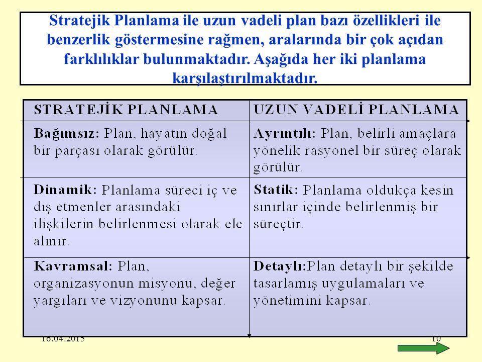 Stratejik Planlama ile uzun vadeli plan bazı özellikleri ile benzerlik göstermesine rağmen, aralarında bir çok açıdan farklılıklar bulunmaktadır. Aşağıda her iki planlama karşılaştırılmaktadır.