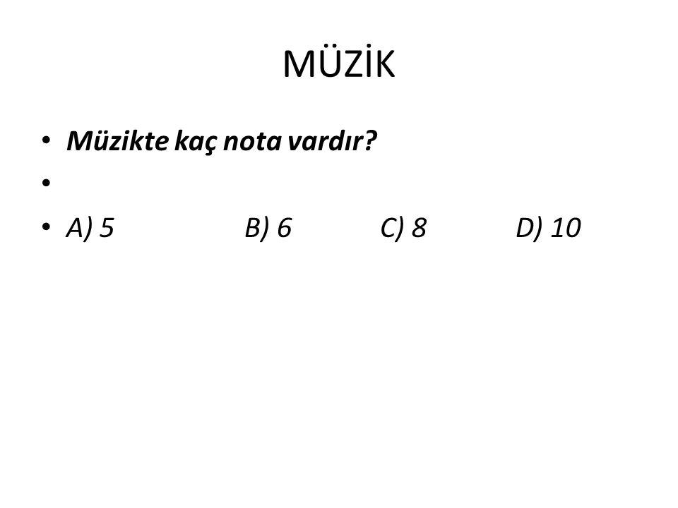 MÜZİK Müzikte kaç nota vardır A) 5 B) 6 C) 8 D) 10