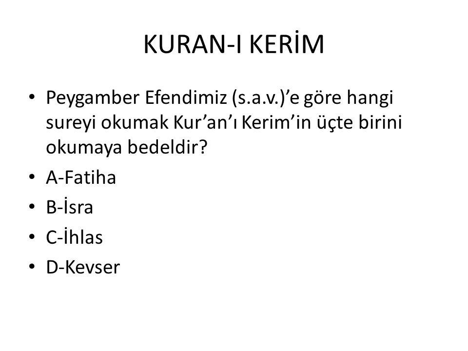 KURAN-I KERİM Peygamber Efendimiz (s.a.v.)'e göre hangi sureyi okumak Kur'an'ı Kerim'in üçte birini okumaya bedeldir