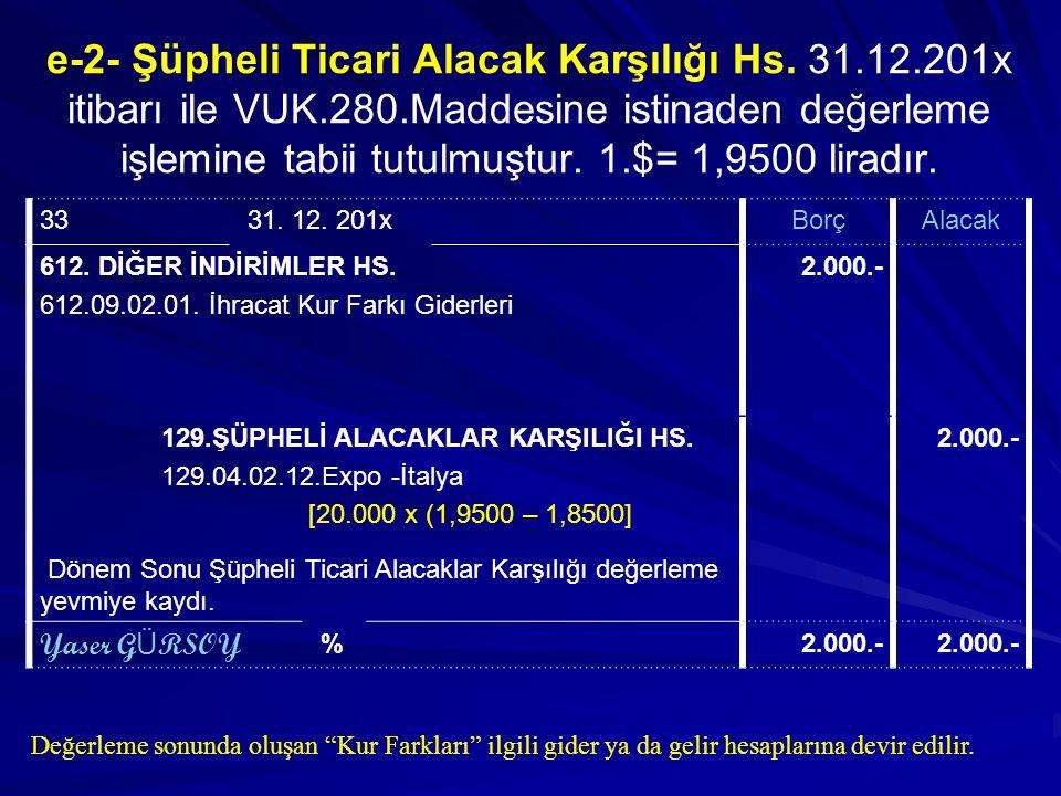 e-2- Şüpheli Ticari Alacak Karşılığı Hs. 31. 12. 201x itibarı ile VUK