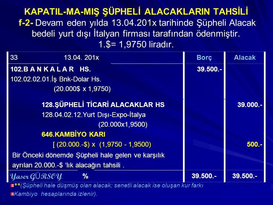 KAPATIL-MA-MIŞ ŞÜPHELİ ALACAKLARIN TAHSİLİ f-2- Devam eden yılda 13.04.201x tarihinde Şüpheli Alacak bedeli yurt dışı İtalyan firması tarafından ödenmiştir. 1.$= 1,9750 liradır.