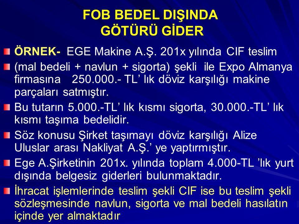 FOB BEDEL DIŞINDA GÖTÜRÜ GİDER