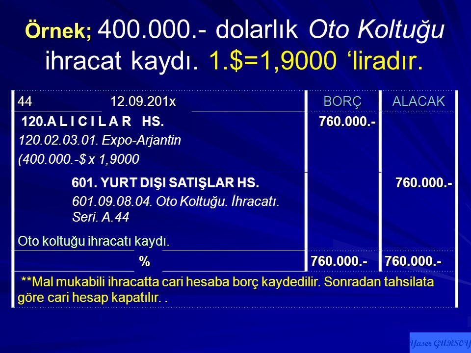 Örnek; 400. 000. - dolarlık Oto Koltuğu ihracat kaydı. 1