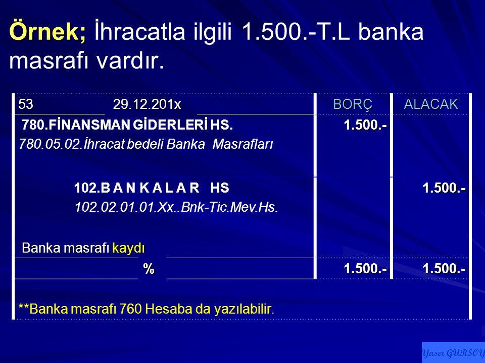 Örnek; İhracatla ilgili 1.500.-T.L banka masrafı vardır.