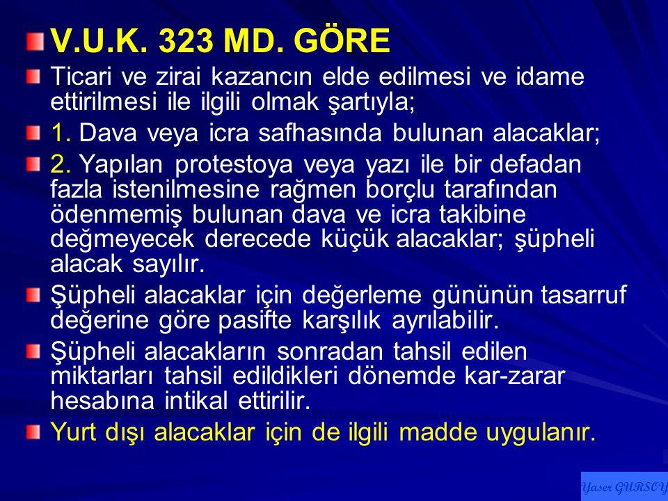 V.U.K. 323 MD. GÖRE Ticari ve zirai kazancın elde edilmesi ve idame ettirilmesi ile ilgili olmak şartıyla;