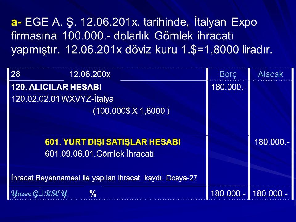 a- EGE A. Ş. 12. 06. 201x. tarihinde, İtalyan Expo firmasına 100. 000
