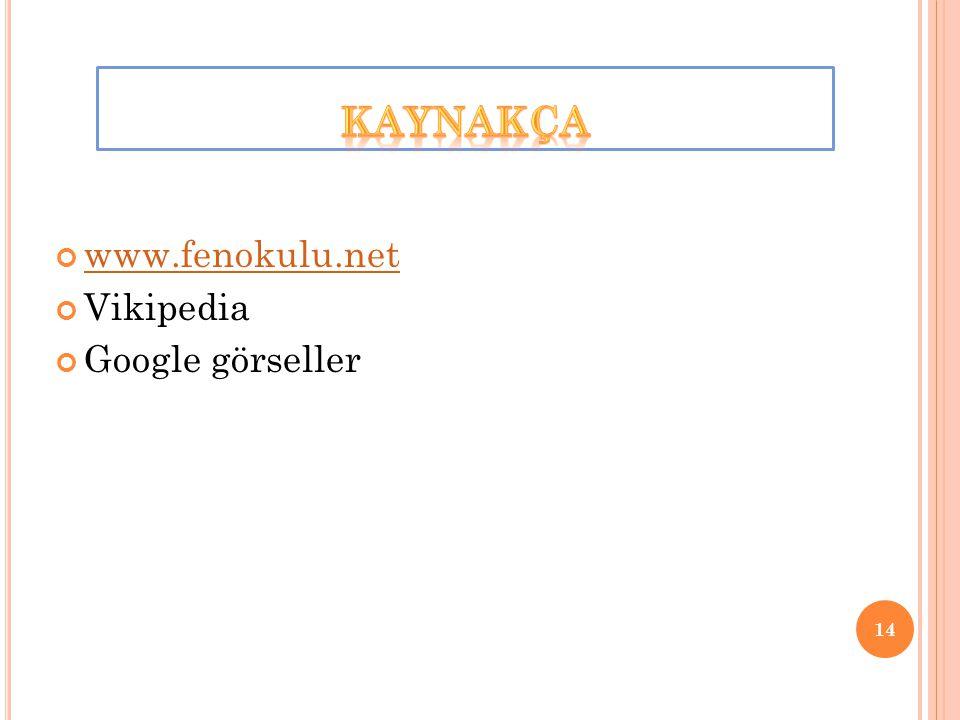 KAYNAKÇA www.fenokulu.net Vikipedia Google görseller