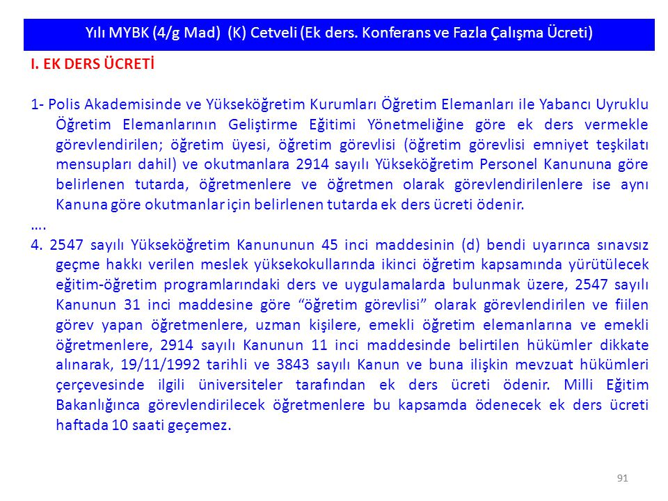 Yılı MYBK (4/g Mad) (K) Cetveli (Ek ders