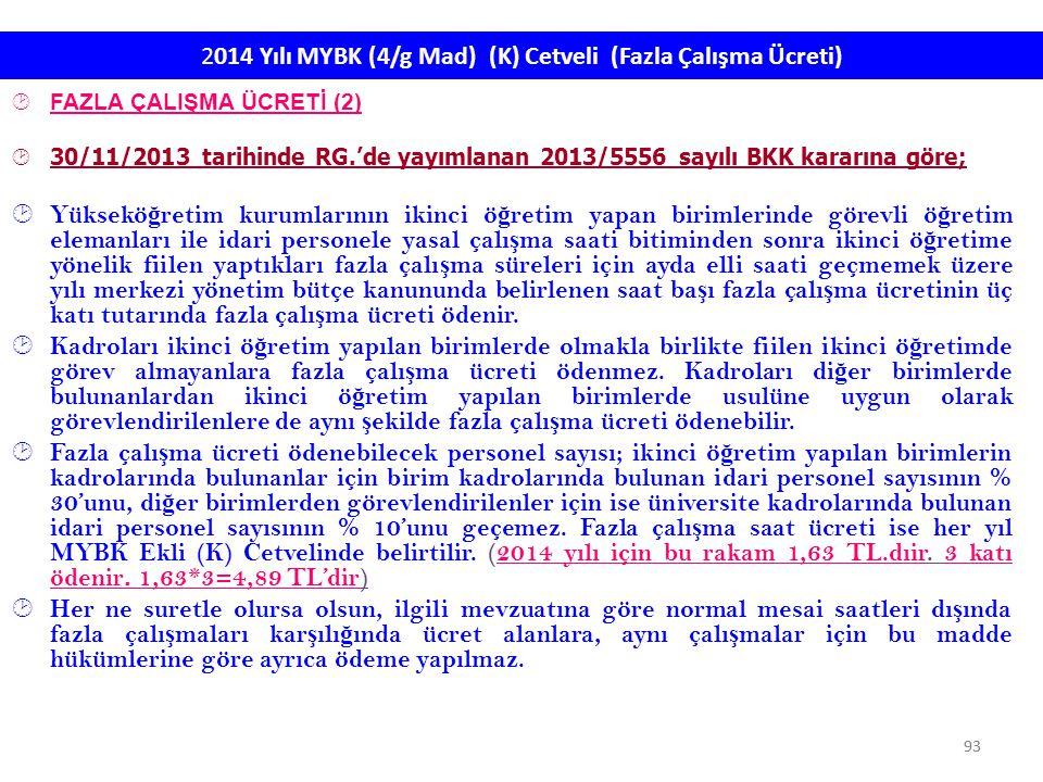 2014 Yılı MYBK (4/g Mad) (K) Cetveli (Fazla Çalışma Ücreti)