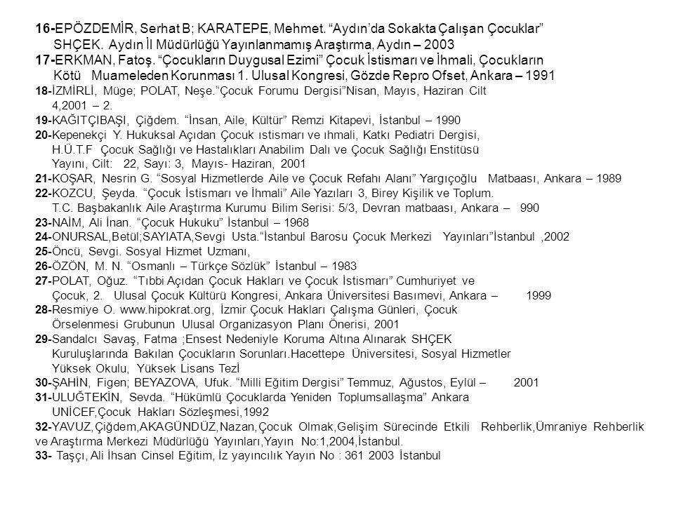 SHÇEK. Aydın İl Müdürlüğü Yayınlanmamış Araştırma, Aydın – 2003
