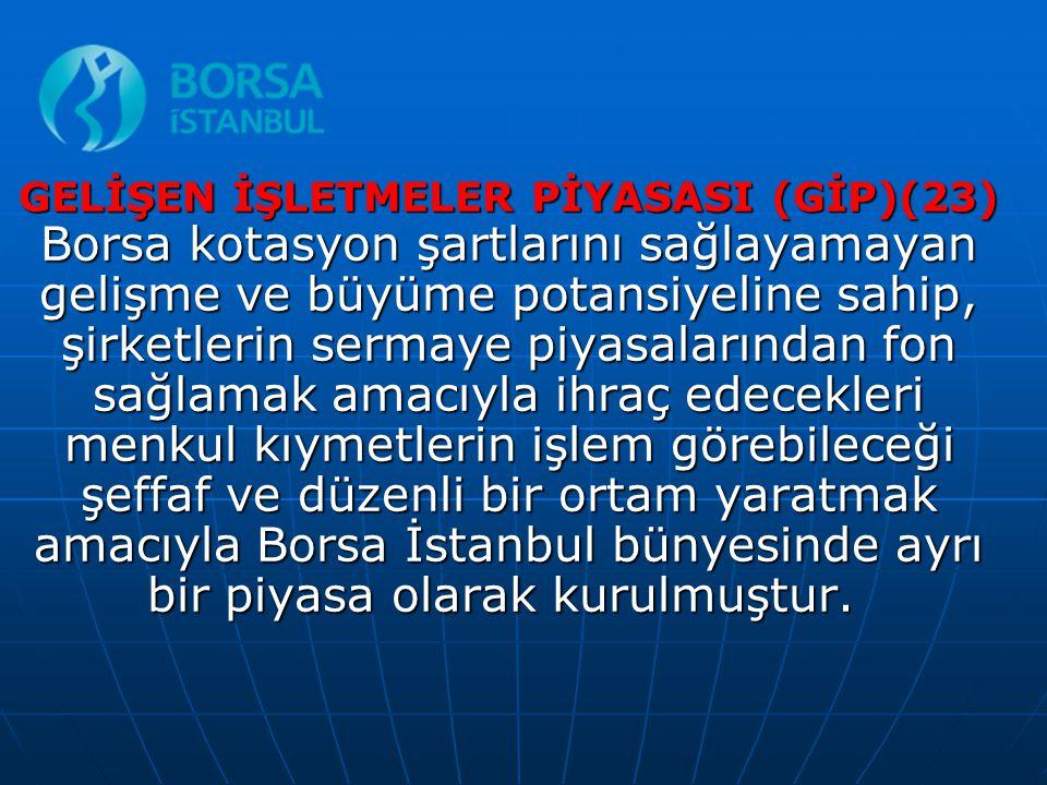 GELİŞEN İŞLETMELER PİYASASI (GİP)(23) Borsa kotasyon şartlarını sağlayamayan gelişme ve büyüme potansiyeline sahip, şirketlerin sermaye piyasalarından fon sağlamak amacıyla ihraç edecekleri menkul kıymetlerin işlem görebileceği şeffaf ve düzenli bir ortam yaratmak amacıyla Borsa İstanbul bünyesinde ayrı bir piyasa olarak kurulmuştur.