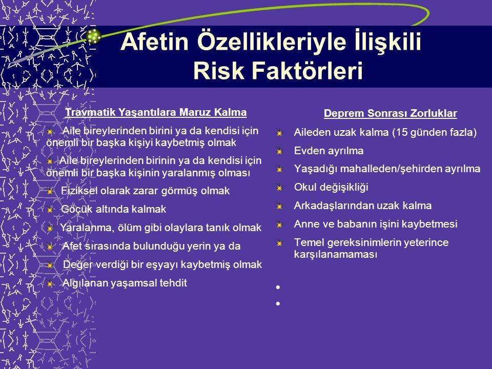 Afetin Özellikleriyle İlişkili Risk Faktörleri