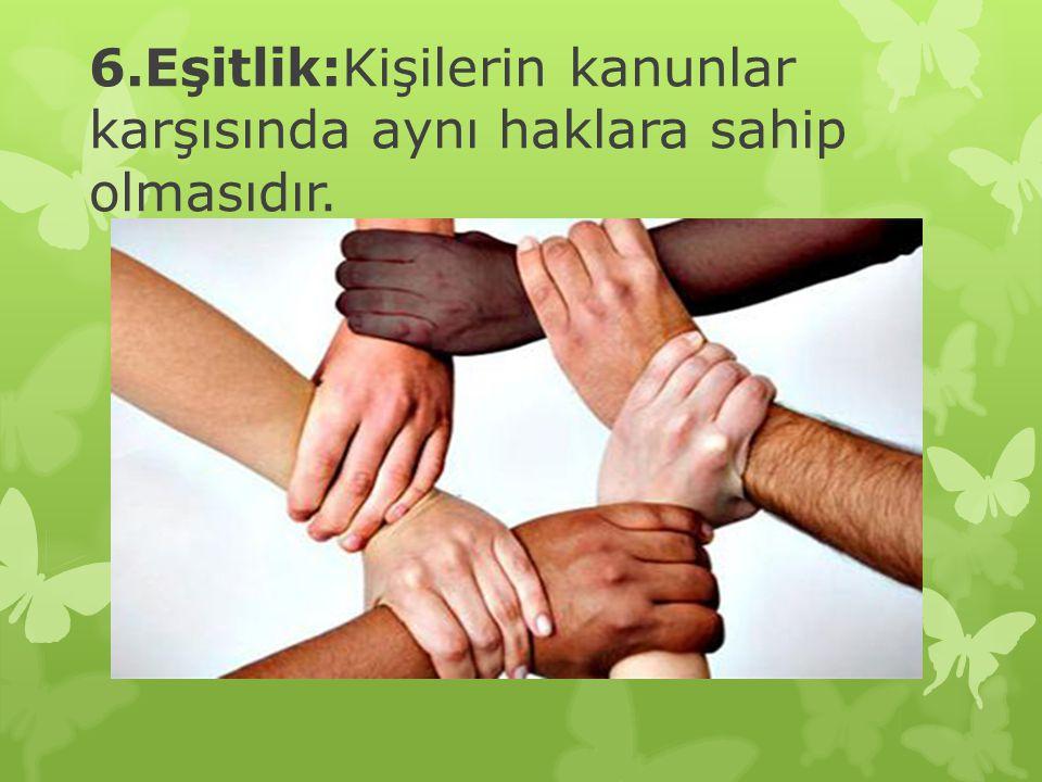 6.Eşitlik:Kişilerin kanunlar karşısında aynı haklara sahip olmasıdır.